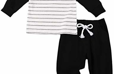 Baby Boy Clothes Stripe Long Sleeve T-Shirt Tops Stripe Solid Color Pants Winter Outfits 18-24 Months