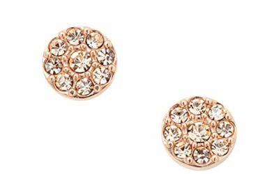 Fossil Disc Rose Gold Stud Earrings