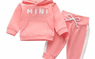 Baby Girl Tracksuit Outfit Mini Pocket Sweatshirt Hoodie Bow Pants Sweatsuit Set