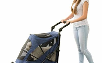 Pet Gear NO-Zip Stroller, Push Button Zipperless Dual Entry, for Single or Multiple Dogs/Cats, Pet Can Easily Walk in/Out, No Need to Lift Pet, Midnight Blue, Large – Push Button Entry (PG8650NZMB)