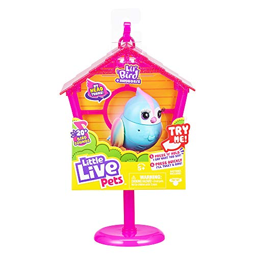 Little Live Pets Lil' Bird & Bird House – Rainbow Tweets – Interactive Fun – Moving Bird Heads with 20 + Sounds – Reacts to Touch, Turning Head – Batteries Included | for Ages 5+