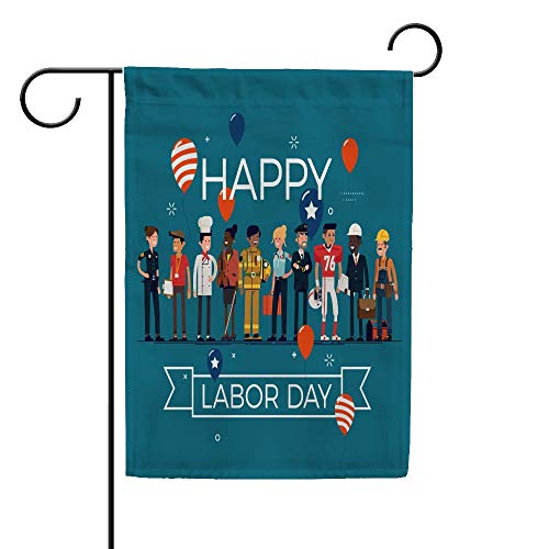 N / A Guitong Garden Yard Flags Happy Labor Day Decor Welcome Greeting Flag Polyester Vertical Doubled Sided Banner for Outdoor Decor 12x 18 inch 28x 40 inch