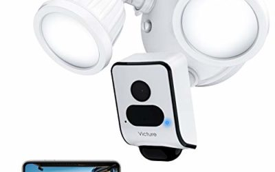 Victure 1080P Floodlight Camera Outdoor Security Camera with IP55 Waterproof Night Vision Motion-Activated and Two-Way Audio White