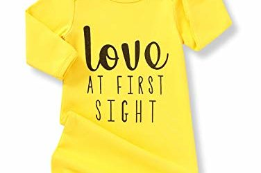 Baby Girl Love at First Sight Sleeping Gown,Isnt She Lovely Coming Home Outfit Sleepwear Romper Sleeping Bags (Love# Yellow, 0-6 Months)