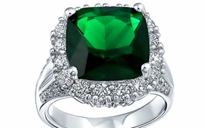Bling Jewelry 7CT Cubic Zirconia Green Simulated Emerald Cut Fashion CZ Cushion Cut Statement Ring for Women Silver Plated Brass