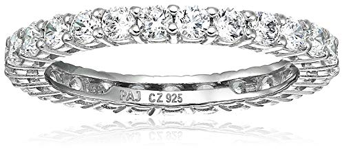 Amazon Essentials Platinum Plated Sterling Silver Round Cut Cubic Zirconia All-Around Band Ring (2.5mm), Size 8