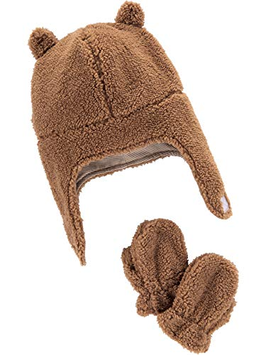Simple Joys by Carter's Baby Hat and Mitten Set, Khaki, 0-9 Months