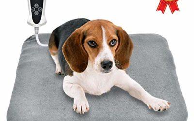 "RIOGOO Pet Heating Pad, Upgraded Electric Dog Cat Heating Pad Indoor Waterproof, Auto Power Off 18"" x 18"" Grey"
