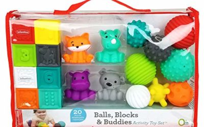 Infantino Sensory Balls Blocks & Buddies – 20 piece basics set for sensory exploration, fine and gross motor skill development and early introduction to colors, counting, sorting and numbers