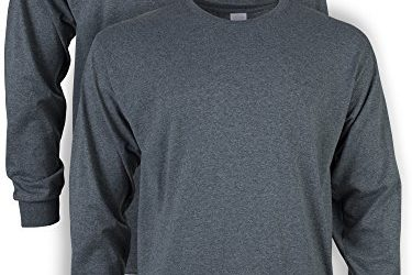 Gildan Men's Ultra Cotton Adult Long Sleeve T-Shirt, 2-Pack, Dark Heather, Medium