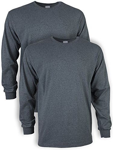 Gildan Men's Ultra Cotton Adult Long Sleeve T-Shirt, 2-Pack, Dark Heather, Medium