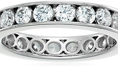 Platinum-Plated Sterling Silver Swarovski Zirconia Channel Set All-Around Band Ring (2 cttw), Size 8