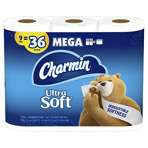 Charmin Ultra Soft Toilet Paper, 9 Mega Rolls Bath Tissue = 36 Regular Rolls