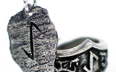 Unisex Viking Pewter Rune Pendant and Matching Adjustable Runic Ring Gift Set … (Y- Eihwaz)