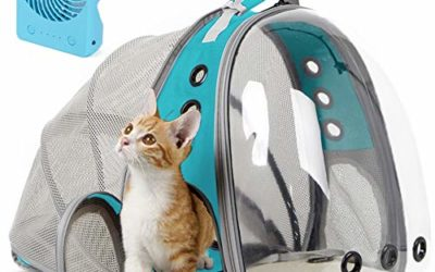 halinfer Expandable Cat Carrier Backpack, Space Capsule Bubble Transparent Clear Pet Carrier for Small Dog, Pet Carrying Hiking Traveling Backpack (Green, Expandable Back + Fan)