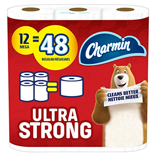 Charmin Ultra Strong Toilet Paper, Mega Roll, 12 Count of 286 Sheets Per Roll