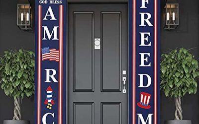 H&B Luxuries Door Decorations Hanging Banner Stripes Porch Sign, Let Freedom Ring for Independence Day Memorial Day Flag Day Labor Day