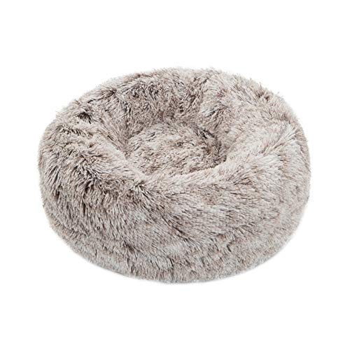 """TORMAYS Pet Beds Donut Round Cushion Dog Bed Marshmellow Faux Fur Cuddler, Calming Fluffy Comfy Furry Cat Bed (20"""", Brown)"""