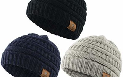Durio Soft Warm Knitted Baby Hats Caps Cute Cozy Chunky Winter Infant Toddler Baby Beanies for Boys Girls 3 Pack Black & Light Grey & Navy