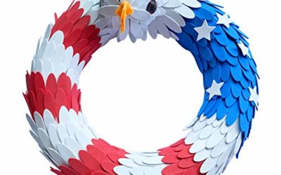 CampHiking American Eagle Wreath for Door, Americana Patriotic Wreath USA July 4th Wreath, Memorial Day Labor Day Cookout Liberty Decorative Wreath Wall Decor