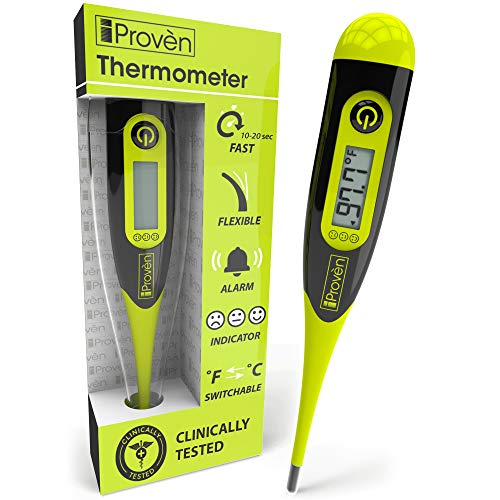 iProven Oral Thermometer for Fever – Adult Fever Thermometer – Readings in 10-20 Seconds – Flexible and Hygienic Waterproof Tip – Smileys for Fever Indication…