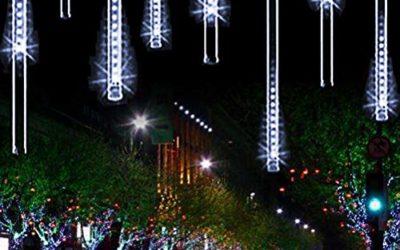 YSIM Meteor Shower Rain Lights,Twinkling Romantic Lights for Party, Wedding, Christmas, etc.11.8inch 8 Tubes(White)