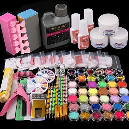 42 in 1 Acrylic Nail Kit, Nail Art Set Acrylic Powder Liquid Brush Glitter Clipper File French Tips Nail Art Decoration Tools Professional Manicure Set