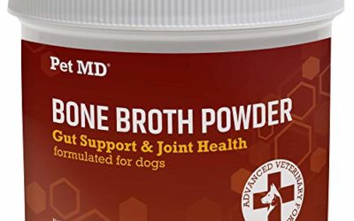 Pet MD Bone Broth for Dogs – Dog Food Toppers with Vitamins, Amino Acids, Natural Joint and Digestion Support – Made from Grade A Free Range Elk Bone Powder – 4 oz