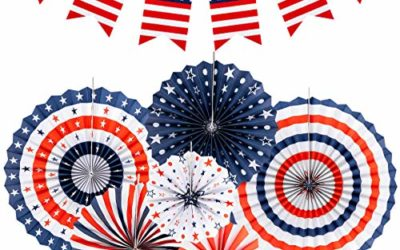 ALPHATOOL American Independence Day Patriotic Decorations-Banners,Paper Fans and Swallowtail Flags Decoration Supplie Set for 4th of July,Memorial Day,Veterans Day,Labor Day,Flag Day