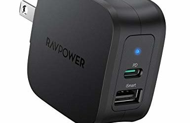 USB C Charger RAVPower 30W 2-Port Fast Charger with 18W Power Delivery 3.0 Wall Charger Foldable Power Adapter for iPhone 12/12 Mini/12 Pro/12 Pro Max, iPad Pro, AirPods Pro, Nintendo Switch and More