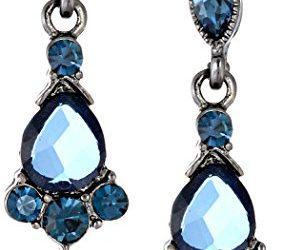 1928 Jewelry Vintage-Inspired Blue Crystal Drop Earrings