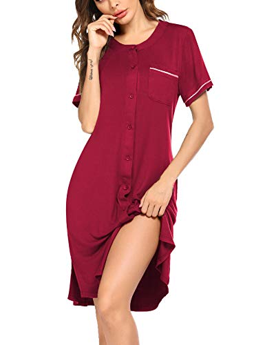 Ekouaer Nightdress Womens Short Sleeve Nightgown Button Down Sleepwear Pajama Dress Wine Red 2X
