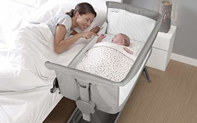 CRZDEAL 2-in-1 Bassinet & Bedside Sleepers Lightweight and Mobile with Storage Basket Beside Sleepers for Baby/Infants/Baby Girl/Baby Boy for Reduce Mom's Fatigue