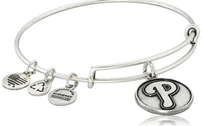 "Alex and Ani ""Major League Baseball"" Phillies Cap Logo Rafaelian Silver-Tone Expandable Bangle Bracelet"