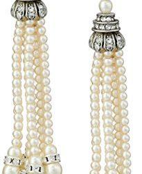 Ben-Amun Jewelry Swarovski Crystal Glass Pearl Tassel Post Earrings for Bridal Wedding Anniversary