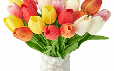 """25Pcs Tulips Artificial Flowers Fake Tulip Flowers Faux Tulips Real Touch for Labor Day Decor, Spring Decor Flowers Wedding Bouquet Centerpiece Floral Table Decor 13.2"""" Tall"""