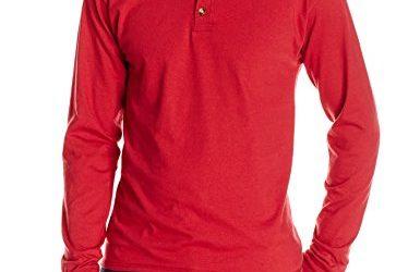 Hanes Men's Long-Sleeve Beefy Henley T-Shirt – Medium – Burnt Brick