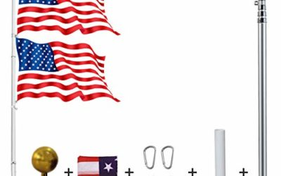 YDisplay 25ft Telescoping Flag Pole Kit with 2 Flags,Golden Top Ball, Clips- Telescopic Flag Heavy Duty 16 Guard Alumium for Residential President's Day Labor Day