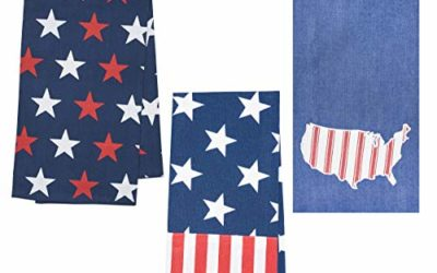 C&F Home Stars and Stripes Americana Patriotic USA 4th of July Memorial Day Labor Day Machine Washable Towels Set of 3 Blue