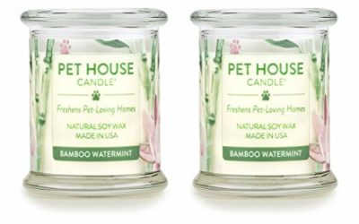 One Fur All 100% Natural Soy Wax Candle, 20 Fragrances – Pet Odor Eliminator, Up to 60 Hours Burn Time, Non-Toxic, Reusable Glass Jar Scented Candles – Pet House Candle, Bamboo Watermint – Pack of 2