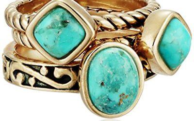 "Barse ""Glisten"" Bronze Turquoise Stack Ring, Size 8"