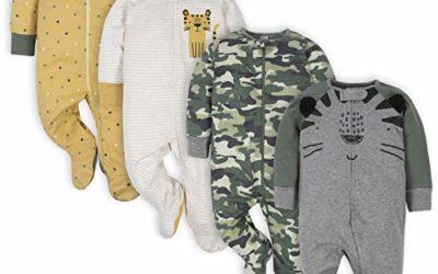 Gerber Baby Boys' 4 Pack Sleep N' Play Footie, Tiger Grey, 3-6 Months
