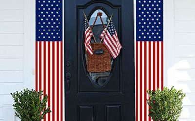 MAIAGO 2Pcs Patriotic Decorations, 4th of July Decorations Porch Sign, American Flag Wall Hanging Banners for Memorial Day, Independence Day, Labor Day, Veterans Day Decor Supplies