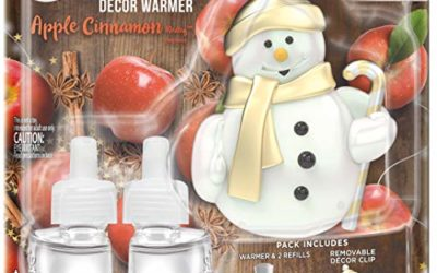 Air Wick Plug in Scented Oil Starter Kit with Snowman Free Decorative Warmer + 2 Refills, Apple Cinnamon, Fall Scent, Fall Spray, (2×0.67oz), Essential Oils, Air Freshener