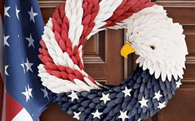 American Eagle Wreath for Door – Patriotic Flag Garland, Handcrafted Plastic Hanging Bald Wreaths Decor for Home Wall Door on Independence Day 4th of July, USA Memorial Labor Day Round 13 inch (Eagle)