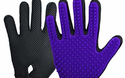 2020 New Version Pet Grooming Brush, Enhance Pet Grooming Glove with 255 Tips, Deshedding Glove for Dog and Cat, Left & Right Gentle De-Shedding Glove Brush,Purple