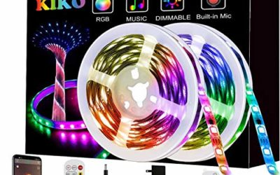 LED Strip Lights, KIKO Smart Color Changing Rope Lights 32.8ft/10M SMD 5050 RGB Light Strips with Bluetooth Controller Sync to Music Apply for TV, Bedroom, Party and Home Decoration(2×16.4ft)