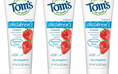 Tom's of Maine Fluoride-Free Children's Toothpaste, Kids Toothpaste, Natural Toothpaste, Silly Strawberry, 5.1 Ounce, 3-Pack