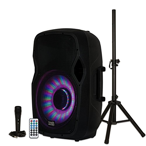 Acoustic Audio by Goldwood Bluetooth LED Light Display Speaker Set – Includes Microphone, Remote Control, and Stand – 15 Inch Portable Sound System, 1000W – AA15LBS, Black, 16 x 14 x 27 Inches