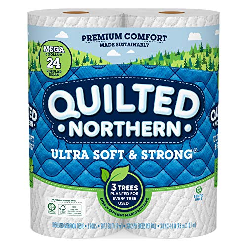 Quilted Northern Ultra Soft and Strong Earth-Friendly Toilet Paper, 6 Mega Rolls = 24 Regular Rolls, 328 2-Ply Sheets Per Roll (Packaging May Vary)